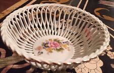 Vintage Porcelain Lace Basket Bowl With Flowers By Alba Lulia, Romania