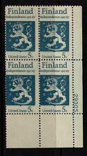 US USA Sc# 1334 MNH FVF Pl# Block Finland Independence Lion Sword