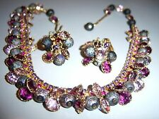 VTG JULIANA BEZEL DANGLE BEAD PURPLE AB RHINESTONE NECKLACE EARRING SET