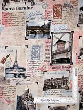 Paris Fabric - Eiffel Tower Notre Dame Scenes Timeless Treasures C2810 - Yard