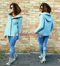 ZARA NEW SKY BLUE WOOL HOODED SHORT COAT SIZE L