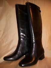 NEW!  Womens size 7 ANNE KLEIN  Camden  Zip-up  Black LEATHER  Knee high Boots