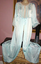 VTG SILKY SOFT SATIN/NYLON BLEND TEAL GREEN LACY DRESSING GOWN ROBE L BUST 40/42