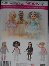 "18"" Doll Clothes Sewing Pattern Dance Tutu Leotard Slippers Simplicity 1243"