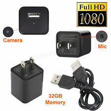 FULL HD 1080P USB Camera Mini Hidden Spy Scout-out DVR Wall Adapter Charger+32GB