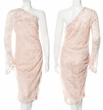 NWT Emilio Pucci Blush Nude Pink Bell Sleeve One Shoulder Lace Sheer Dress 10 44