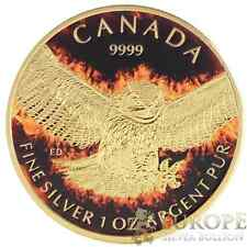 2015 1 Oz Ounce Silver Great Horned Owl Coin 999 Gold Gilded Colorized Fire