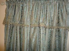 CONCORD LINED (2PC) POLE TOP PANELS DRAPERY SET CRYSTAL VALANCE 50X84 AQUA BLUE