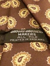 "Vintage, Brooks Brothers Makers, Silk, Brown/Gold, Paisley Print, Neck Tie (54"")"