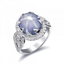 Natural Gray-Blue Star Sapphire 6.73ct set in 14K White Gold Ring w Diamonds