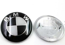 NEW BMW 82mm Black and white Silver  Emblems Trunk Hood Badge Logo Set