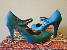 Miss Me Mary Jane Shoes Turquoise Pumps High Heels Size 9 Womens Cutouts Vegan