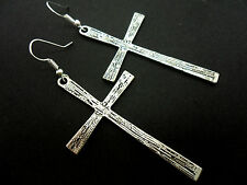 A PAIR OF LONG TIBETAN SILVER  CROSS CRUCIFIX GOTH DANGLY EARRINGS. NEW.