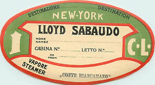 CONTE BIANCAMANO ~Lloyd Sabaudo Steamship Co. - ITALY~ Scarce Luggage Label 1927