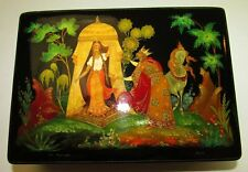 Russian Vintage 1979 Palekh Laquer Miniture Painting on Box Signed by Artist