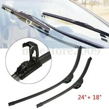 Pair 24'' + 18'' Universal J-Hook Car Window Windshield Wiper Blade Bracketless