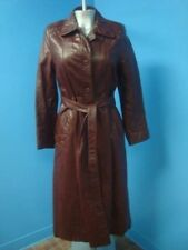 62782 Brown - Red Long VINTAGE  Leather Women Coat Jacket SZ 14