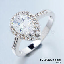 Water Drop Real White Gold Plated Clear Cubic Zircon Gemstone Rings Size 9