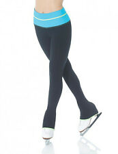 Mondor 4837 Ice Figure Skating Pants Banded Leggings Tropical Blue Black CS 6X-7