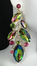 """Bold 3.5"""" Green Rhinestone/Crystal Earrings, Drag Queen, Pageant, Bridal, Prom,"""