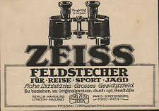 Werbung: JENA, 1914, Carl Zeiss Jena Feldstecher für Reise Sport und Jagd