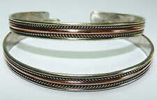 Copper, Brass + White Metal Bracelet. Thin Cuff Style. Free Shipping in USA!