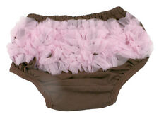 Brown Diaper Cover with Light Pink Ruffles