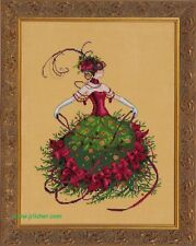 Mirabilia Cross Stitch MD148 Miss Christmas Eve chart,Beads,Linen,waterlilies.