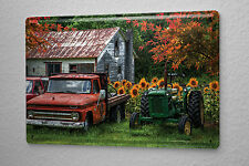 Retro Tin Sign Tractor Factory old farmhouse with classic cars Metal Plate 8X12