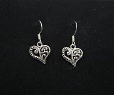 Beautiful New Heart Drop Dangle Pierced Earrings w/Sterling Silver Ear Wires