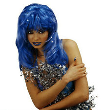 Ladies Long Wavy Blue Stardust Wig Fantasy Cosplay Smurf Fancy Dress