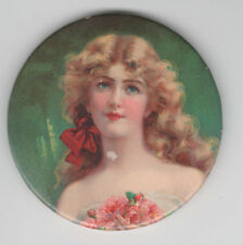 Vintage 1900 Celluloid ROSE BEAUTY W/ Red Hair Ribbon Pocket Mirror! Pretty Girl