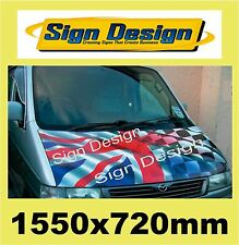 PRINTED WAVING UNION JACK CHEQUERED FLAG FIT CAR VAN BONNET  GRAPHICS DECALS