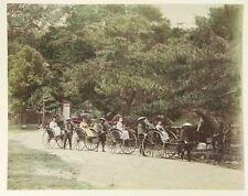 c1880 4 Rickshaws with Geisha & Umbrellas Japan Park, Albumen Print Photograph