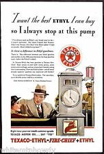1933 TEXACO Ethyl Fire-Chief Antique Gas Gasoline Pump AD