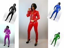 SEXY RED BLACK WHITE  PVC JACKET & TROUSERS WITH EYELETS 18-24 UK New With Tags