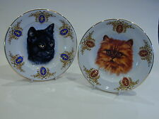 Vintage Wood & Sons Burslem 'Derick Bown' pair Cat plates with cupid on rim
