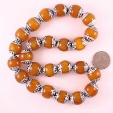 Wholesale 10 Big Nepal 20X18mm Beeswax Amber 925 Sterling Silver Repousse Beads