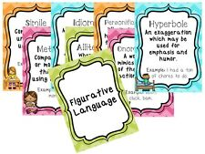 8 laminated Figurative Language Classroom Anchor Chart Posters. 8.5 by 11 inch