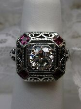 *Red Ruby* & White Gemstone 1930's Art Deco Sterling Silver Filigree Ring Size 8