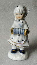 """GIRL with ACCORDION CONCERTINA white with blue figure 5"""" ENESCO 1980"""
