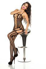 SEXY BLACK FISHNET STRIPE BODYSTOCKING SUSPENDER DRESS LINGERIE 8-12 ADULT FUN