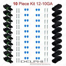 Delphi Weather Pack 2 Pin Sealed Connector Kit 12-10 GA !!!10 COMPLETE KITS!!