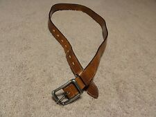 "Men's Hawk Company handmade Brown Leather Adjustable Belt 43-1/2"" Free Shipping"