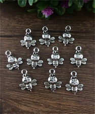DIY 12pcs Tibet silver Bees Charm Pendant beaded Jewelry Findings 16x12mm