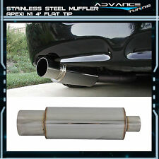 4 Flat Tip 2.5 Inlet Exhaust Muffler Silencer N1 Style Stainless Steel
