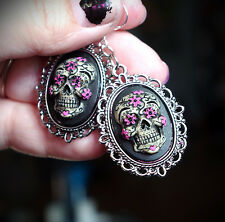 Blk&Pink Silver Sugar Skull Calavera Day of the Dead Dia De Los Muertos Earrings