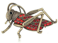 Ruby Red Crystal Grasshopper Brooch animal Fashion jewelry Pin hat bag clip gift