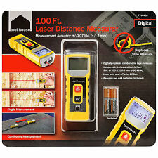 Tool House 100 Ft. Digital Laser Distance Meter Tape Measures Inches and Metric