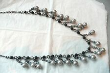 VERY LONG NECKLACE - SOFT GREY PEARLS & BLACK FACETED BEADS - NEW